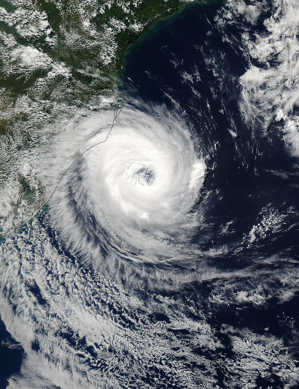 Image of Aqua/MODIS 2004/087 16:30 UTC Tropical cyclone off Southern Brazil (afternoon overpass), Pixel size 1km