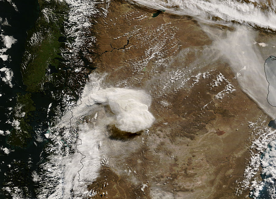 Image of Terra/MODIS 2008/127 15:05 UTC Ash plume from eruption of Chaiten volcano, Chile<br>(morning overpass, true color), Pixel size 1km