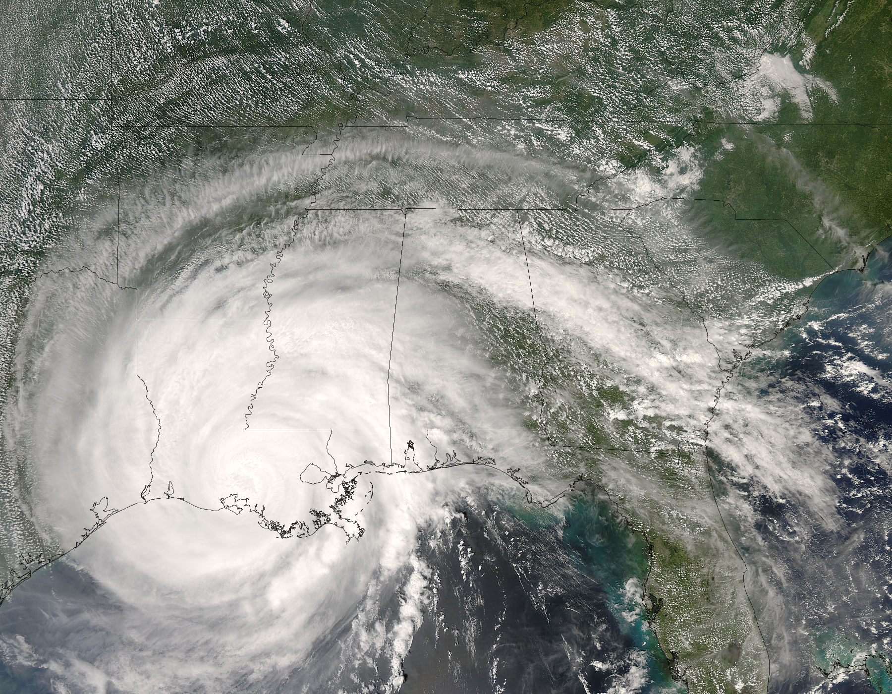 Image of Aqua/MODIS 2008/245 19:00 UTC Hurricane Gustav (07L) over Louisiana, Pixel size 1km