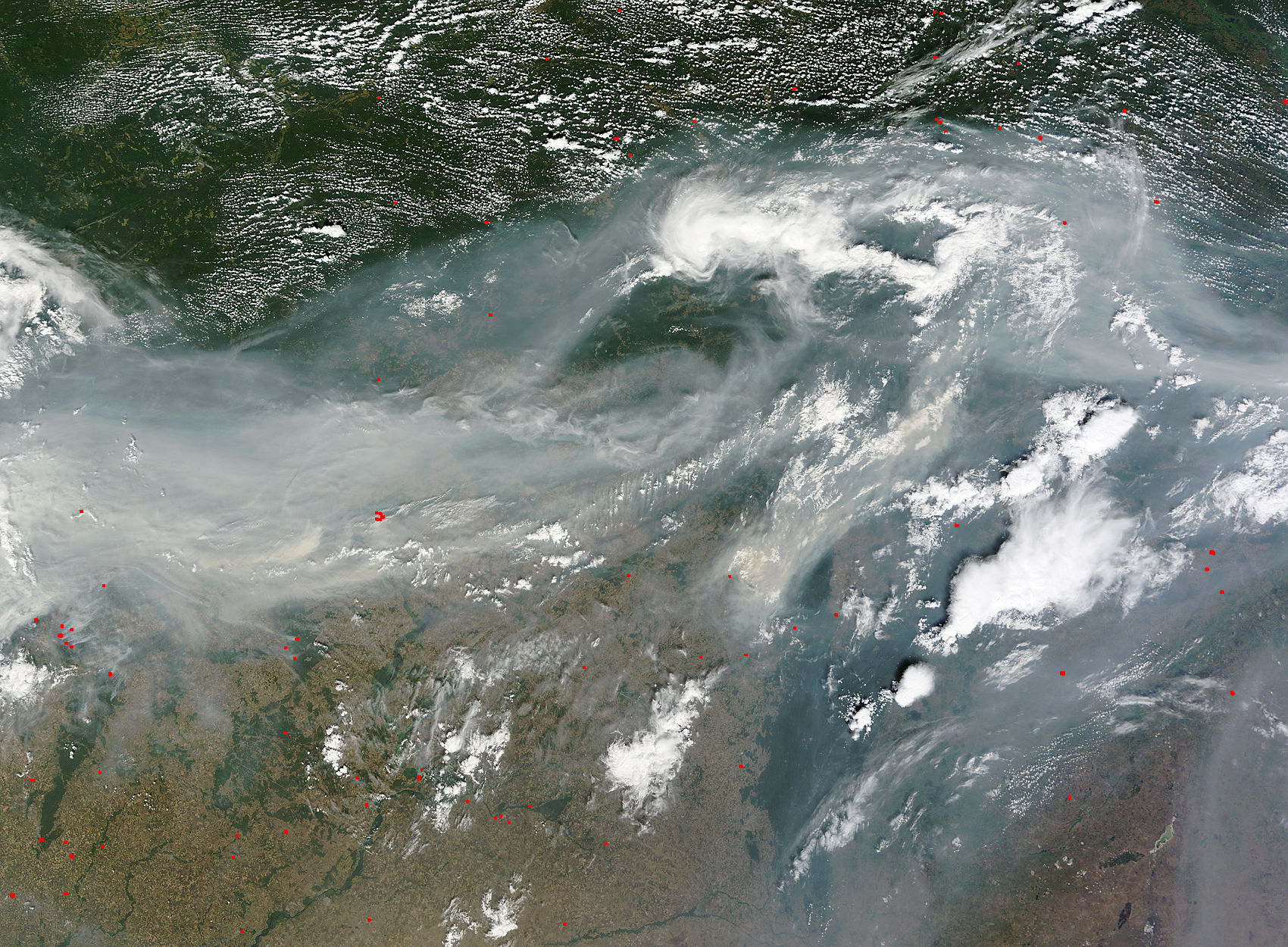 Image of Terra/MODIS 2010/214 07:50 UTC Smoke over western Russia, Pixel size 1km