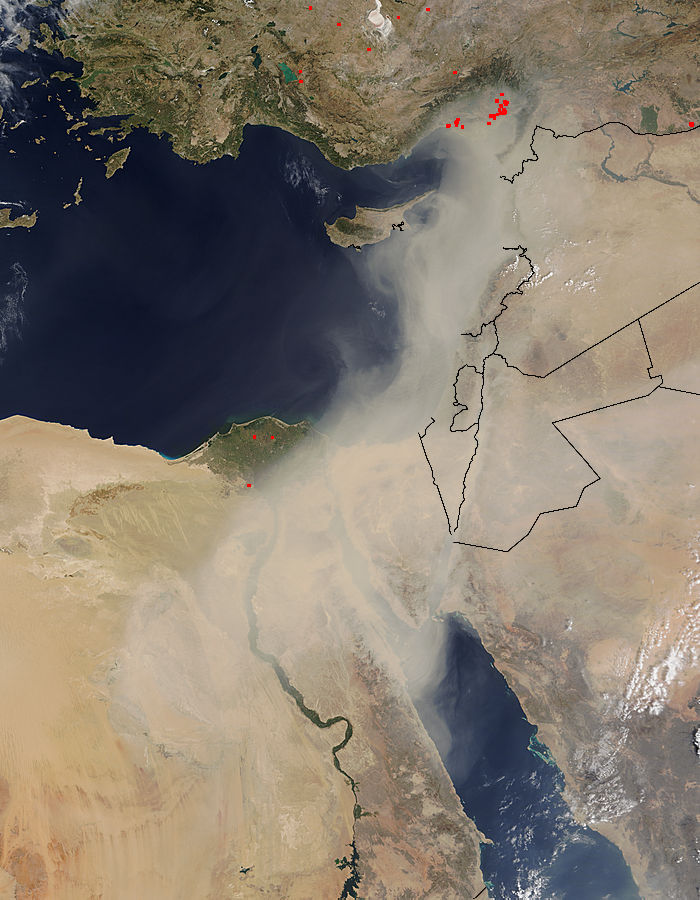Image of Terra/MODIS 2015/252 08:50 UTC Dust storm in the Middle East, Pixel size 2km