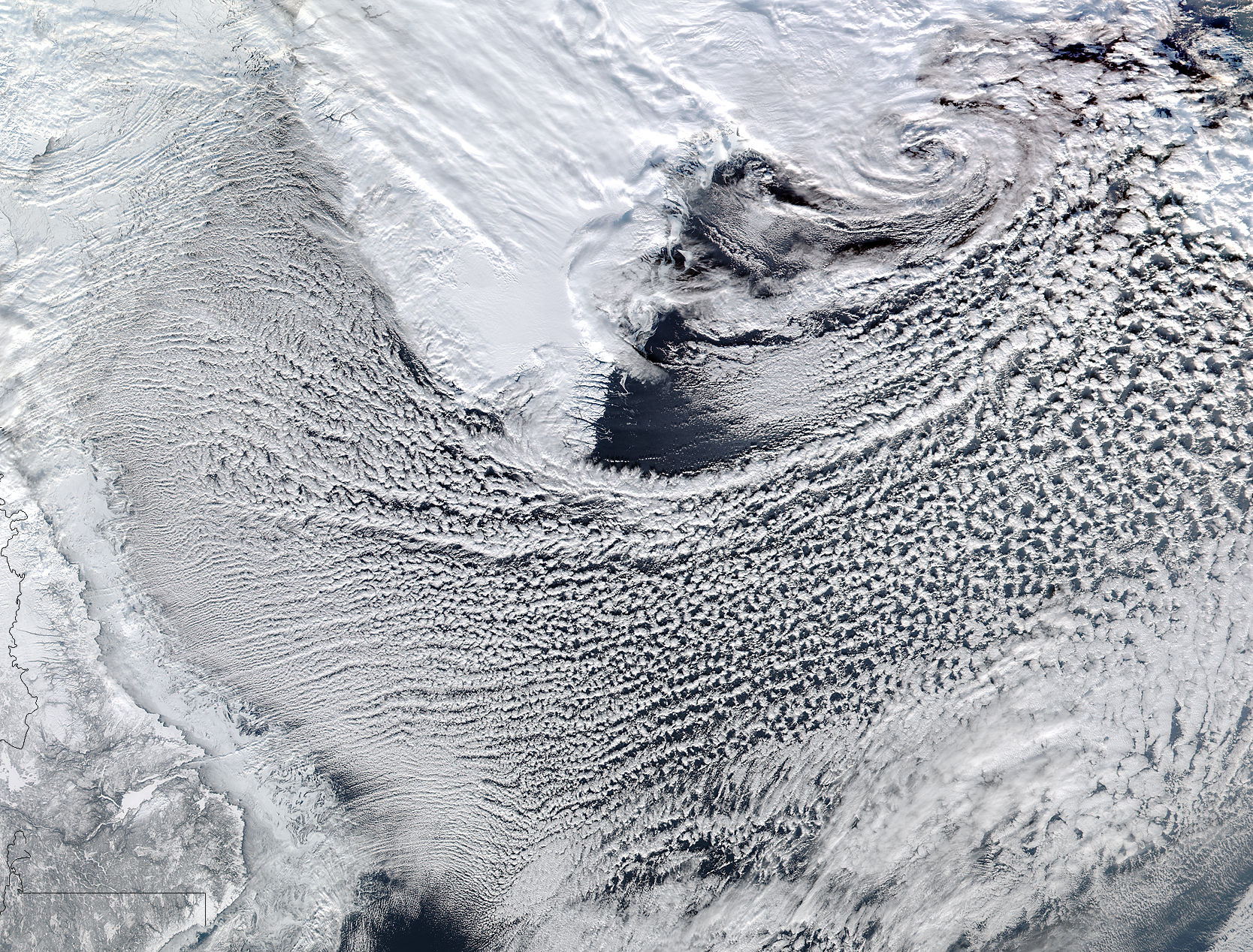 Image of SNPP/VIIRS 2018/038 15:30 UTC Cloud streets in the Labrador Sea, Pixel size 1500m
