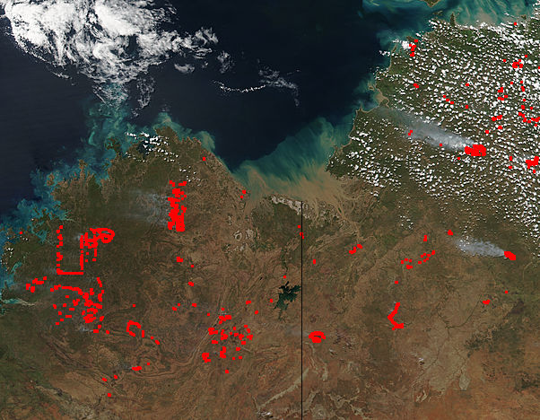 Image of SNPP/VIIRS 2018/107 05:00 UTC Fires in northern Australia, Pixel size 1500m
